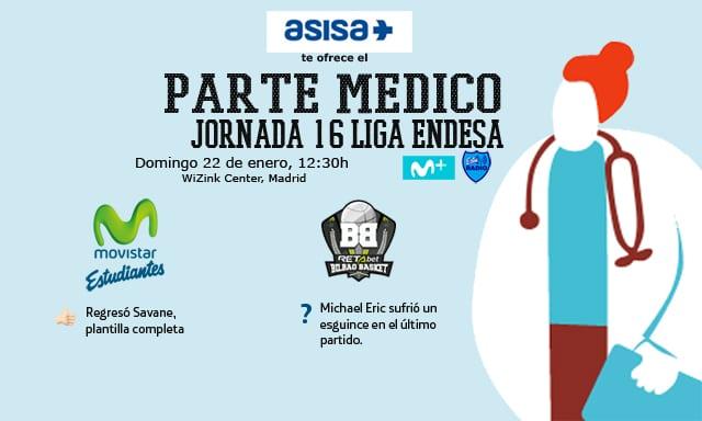 Asisa ofrece el parte médico del Movistar Estudiantes- Retabet Bilbao Basket