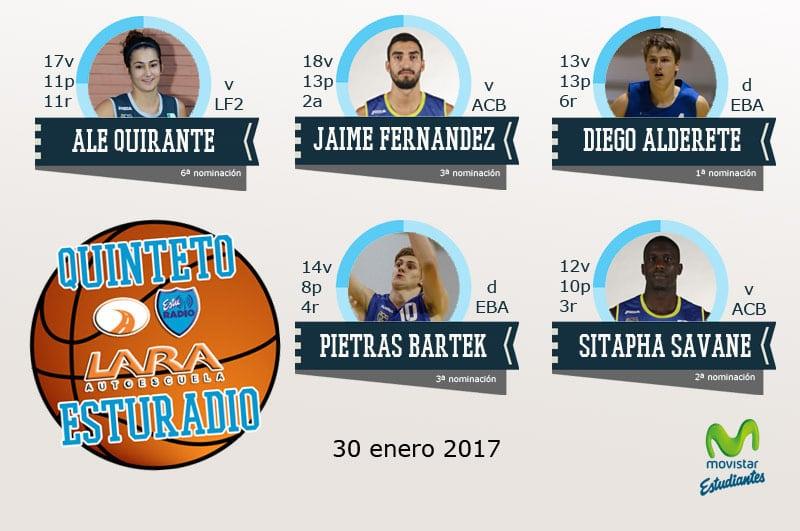 13er Quinteto EstuRadio Autoescuela Lara: Ale Quirante, Jaime Fernández, Diego Alderete, Pietras Bartek y Sitapha Savane