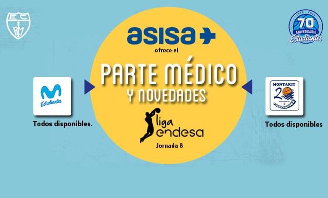 Asisa ofrece el parte médico y novedades del Movistar Estudiantes- Montakit Fuenlabrada