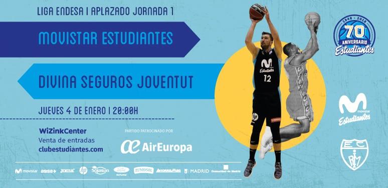 2018 se abre con el clásico Movistar Estudiantes- Divina Joventut: jueves 4 de enero, 20h, patrocinado por Air Europa