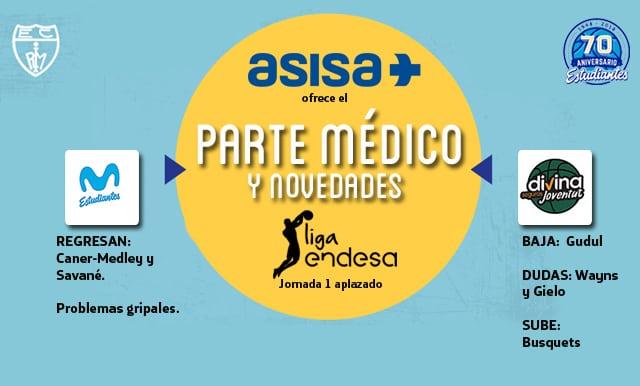 Asisa ofrece el parte médico y novedades del Movistar Estudiantes- Divina Joventut
