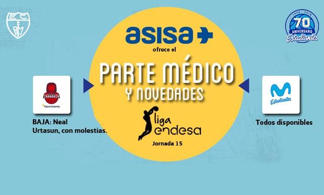 Asisa ofrece el parte médico y novedades del Tecnyconta Zaragoza- Movistar Estudiantes