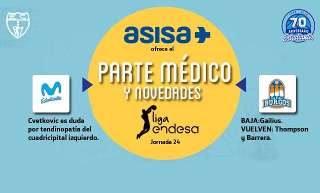 Asisa ofrece el parte médico y novedades del Movistar Estudiantes- San Pablo Burgos