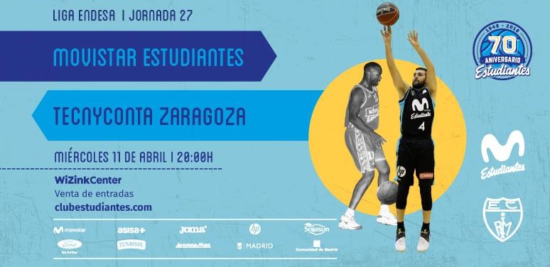 Entradas Movistar Estudiantes – Tecnyconta Zaragoza, miércoles 11 abril, 20h.