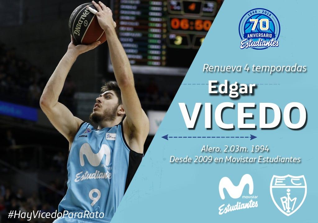 Edgar Vicedo renueva por cuatro temporadas su contrato con Movistar Estudiantes