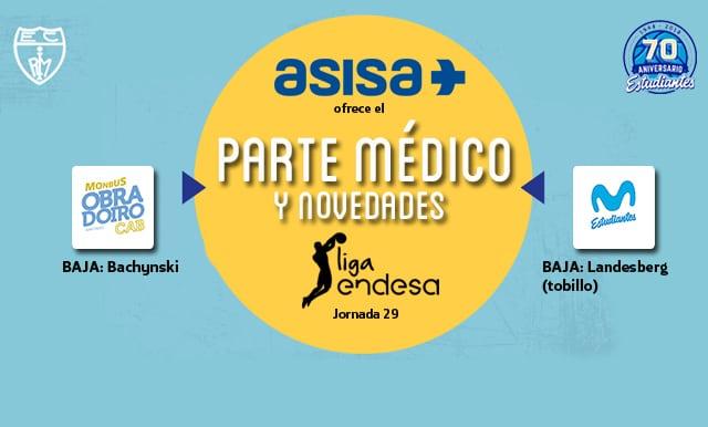 Asisa ofrece el parte médico y novedades del Monbus Obradoiro- Movistar Estudiantes