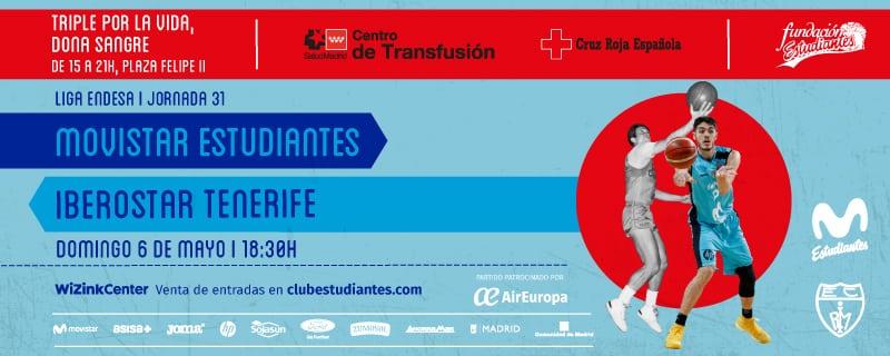 Entradas Movistar Estudiantes – Iberostar Tenerife. Domingo 6 de mayo, 18:30h