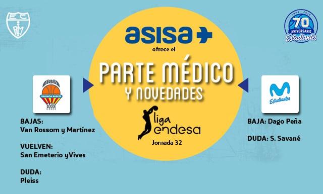 Asisa ofrece el parte médico y novedades del Valencia Basket – Movistar Estudiantes: baja Peña, duda Savané