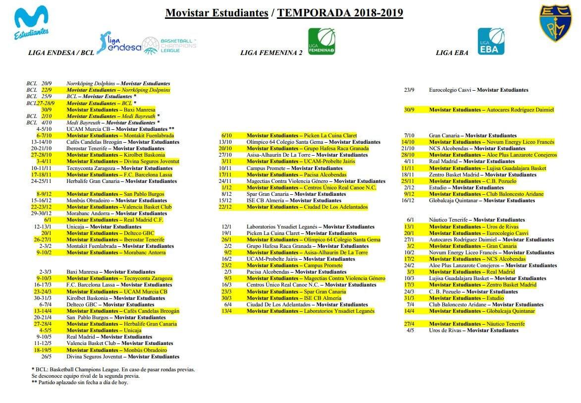 PDF con calendario Liga Endesa, LF1 y Liga EBA