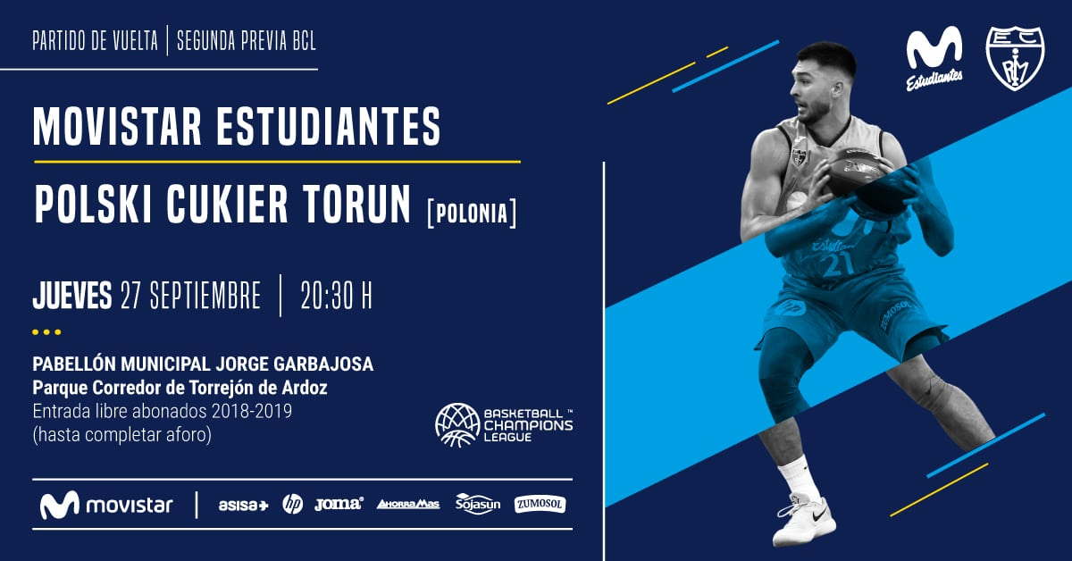 Movistar Estudiantes- Torun, jueves 27, 20:30h