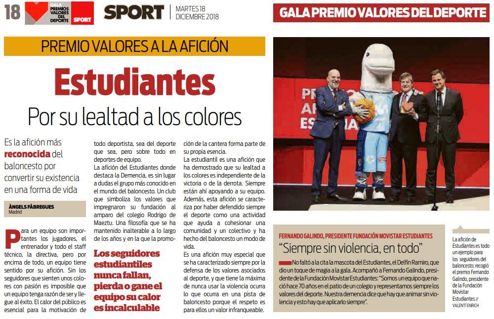 Sport premia a la afición de Movistar Estudiantes