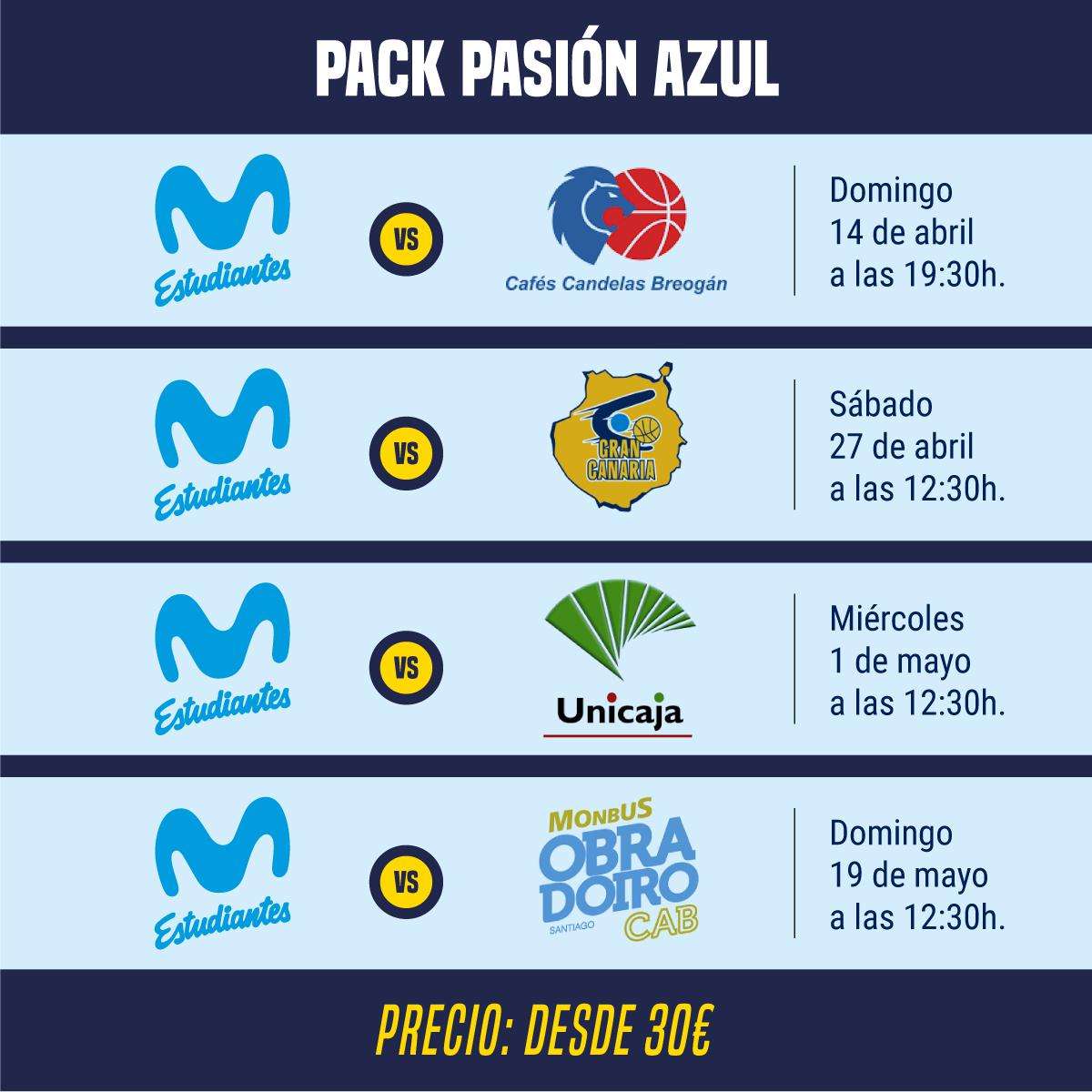 Pack Pasión Azul: cuatro finales desde 15€