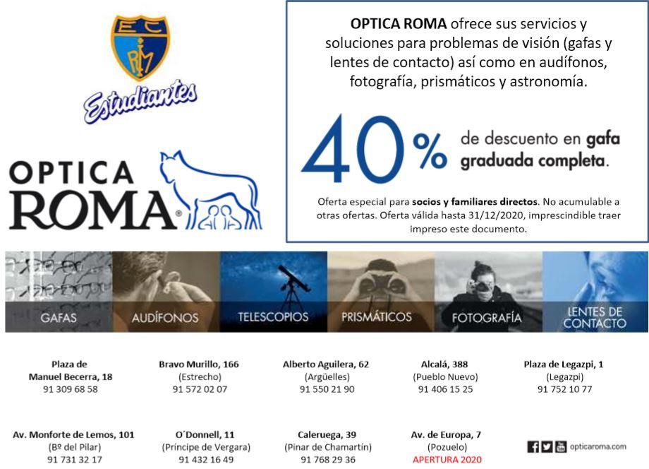 Descuento del 40% en Optica Roma para abonados