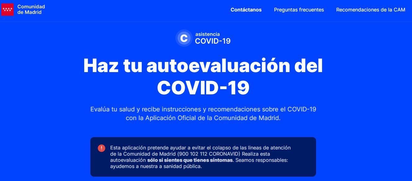 Coronamadrid.com: haz tu autoevaluación del COVID-19