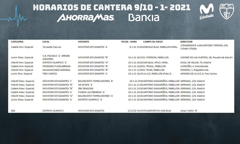 CANCELADA jornada de  cantera 9-10 enero 2021