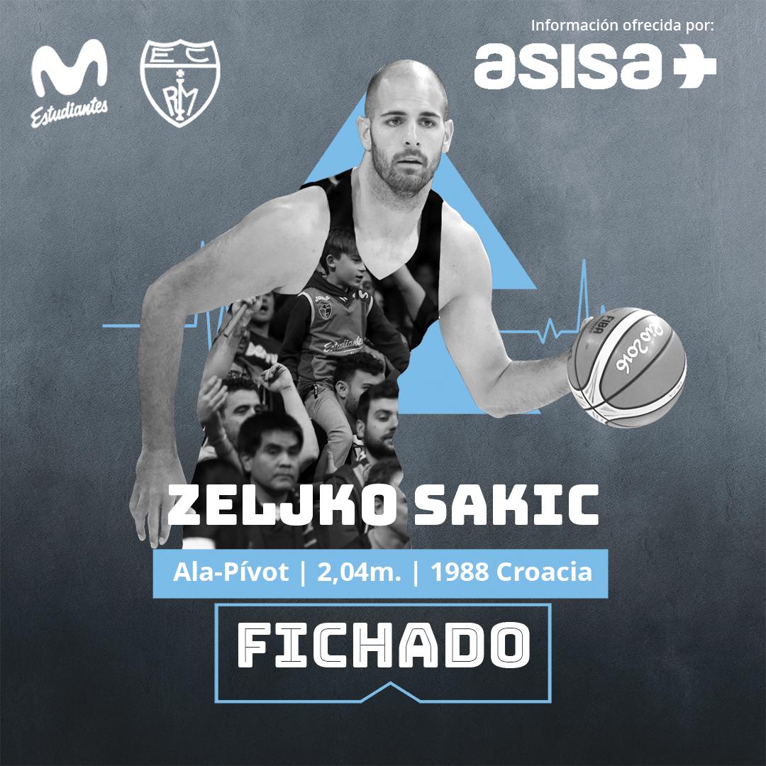 Zeljko Sakic refuerza a Movistar Estudiantes hasta final de temporada