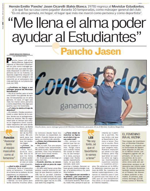 Pancho Jasen, en AS